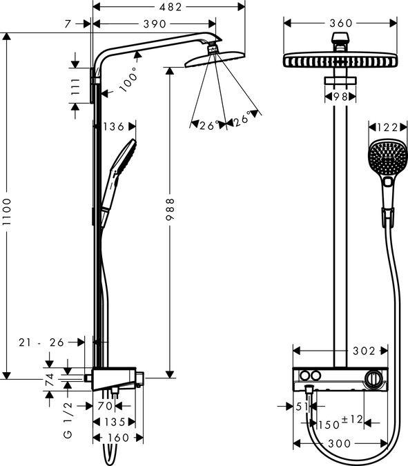 HansGrohe Raindance Select E 360 Showerpipe, króm / 27288000 / 27288 000