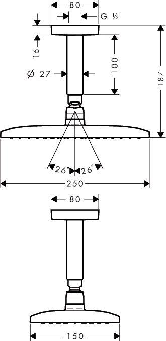 HansGrohe Raindance E 240 AIR 1jet fejzuhany DN15 / 100 mm-es mennyezeti csatalkozóval / króm / 27380000 / 27380 000