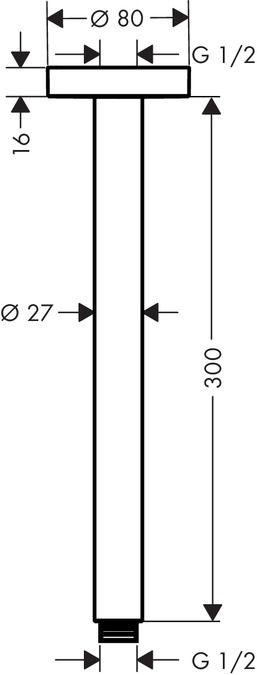 HansGrohe Mennyezeti csatlakozó S 300 mm / 27389000 / 27389 000