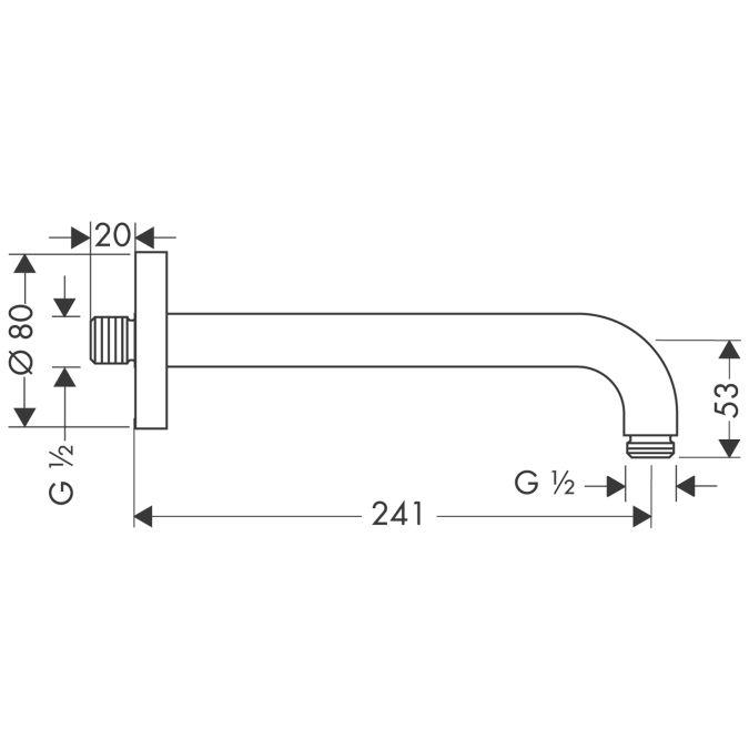 HansGrohe Zuhanykar 241 mm DN15 / szálcsiszolt nikkel / 27409820 / 27409 820