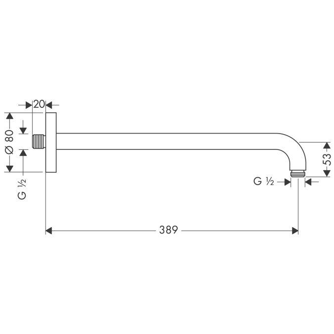 HansGrohe Zuhanykar 389 mm DN15 / rozsdamentes acél hatású / 27413800 / 27413 800