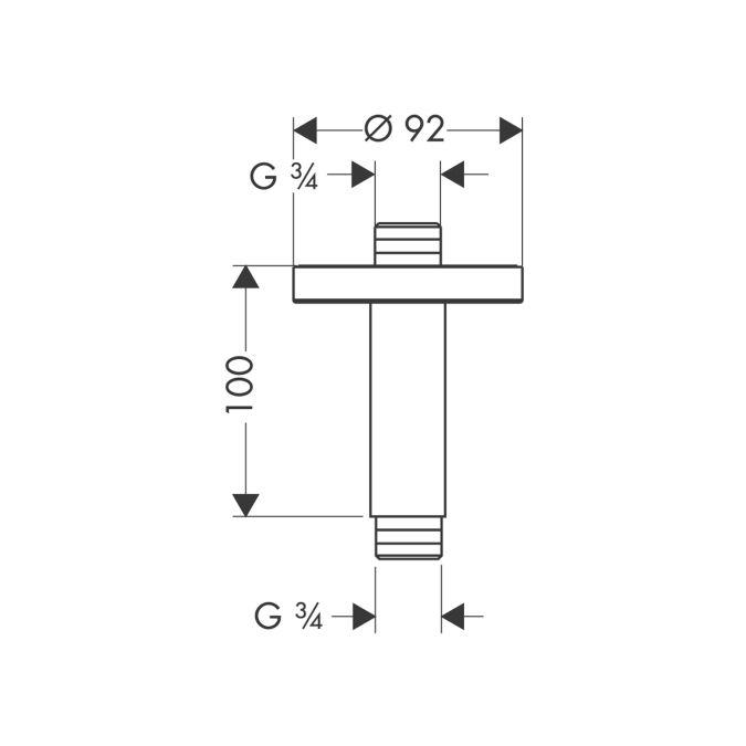 HansGrohe Mennyezeti csatlakozó 100 mm DN20 / szálcsiszolt nikkel / 27418820 / 27418 820