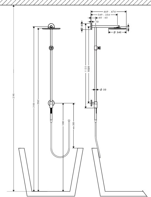HansGrohe Raindance Connect S 240 Showerpipe 350 mm-es zuhanykarral / DN15 / króm / 27421000 / 27421 000