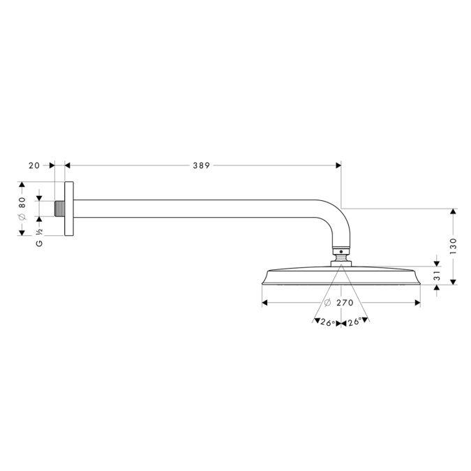 HansGrohe Raindance Classic 240 AIR tányér fejzuhany DN15 / 383 mm-es zuhanykarral / króm / 27424000 / 27424 000