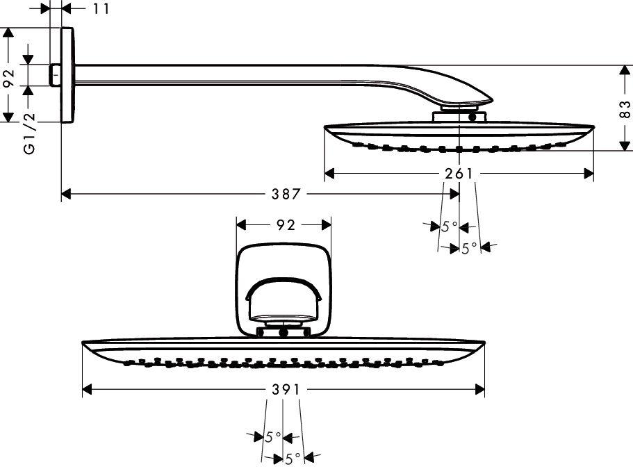 HansGrohe PuraVida fejzuhany 400 mm DN15 / 387 mm-es zuhanykarral / fehér-króm / 27437400 / 27437 400