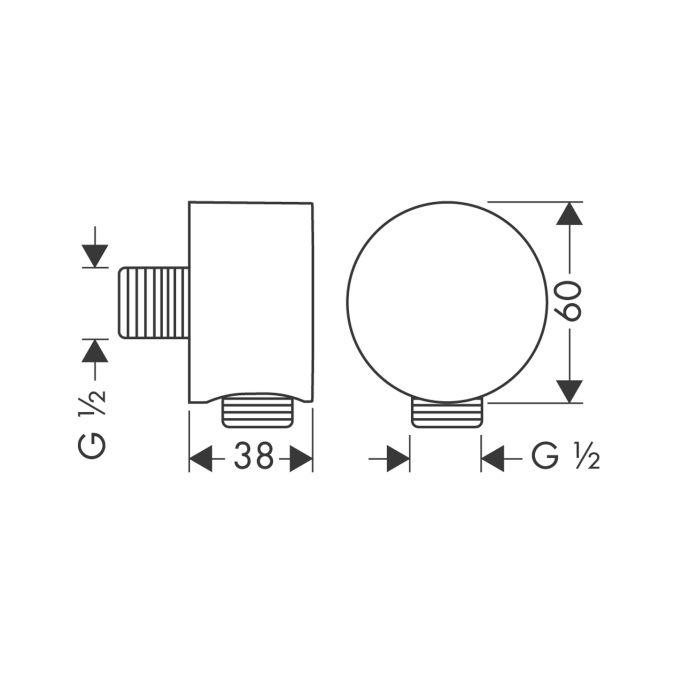 HansGrohe AXOR Fixfit csőcsatlakozás DN15 / rozsdamentes acél / 27451800 / 27451 800