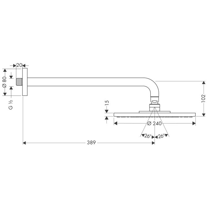 HansGrohe Raindance S 240 AIR tányér fejzuhany EcoSmart / DN15 389 mm-es zuhanykarral / króm / 27461000 / 27461 000