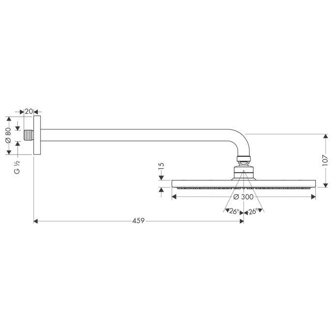HansGrohe Raindance S 300 AIR tányér fejzuhany DN15 / 450 mm-es zuhanykarral / króm / 27492000 / 27492 000