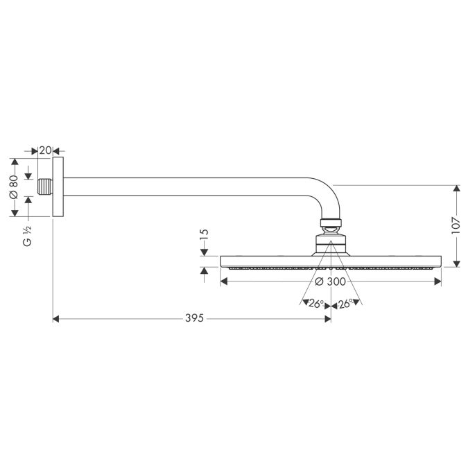 HansGrohe Raindance S 300 AIR tányér fejzuhany DN15 / 389 mm-es zuhanykarral / króm / 27493000 / 27493 000