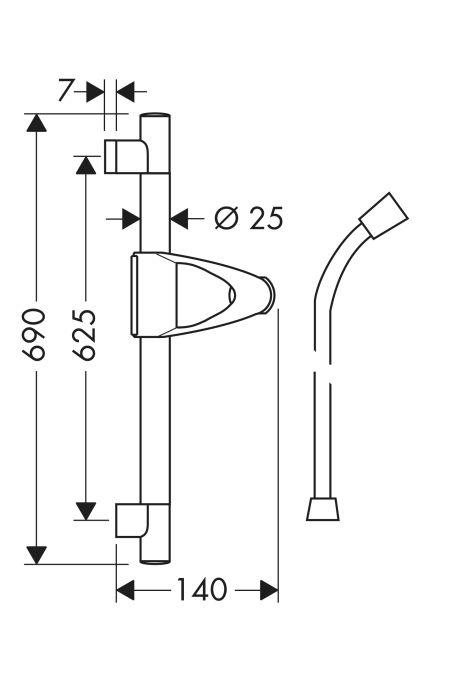 HansGrohe Unica'D zuhanyrúd 0,65 m / króm / 27933000 / 27933 000