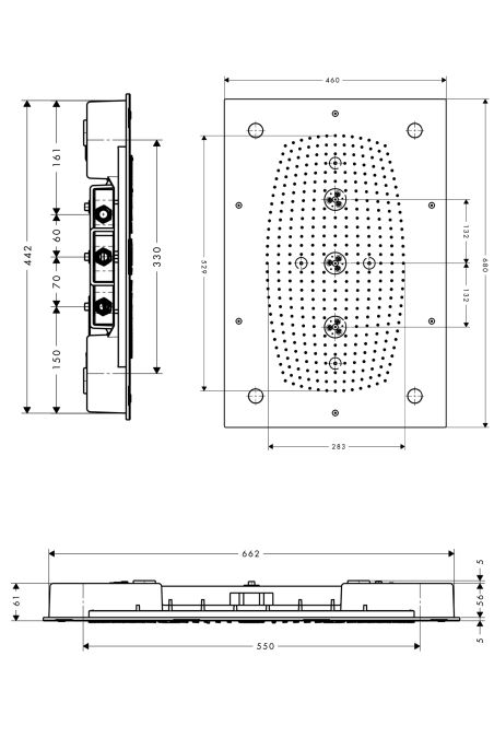 HansGrohe Raindance Rainmaker 680 mm x 460 mm világítással DN15 / króm / 28418000 / 28418 000