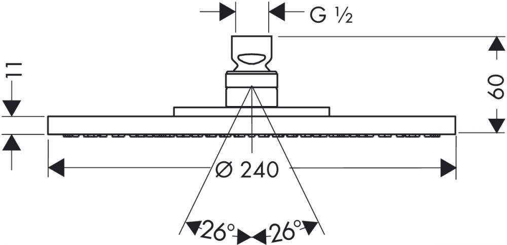HansGrohe AXOR Tányér fejzuhany Ø 240 mm DN15 / króm / 28494000 / 28494 000