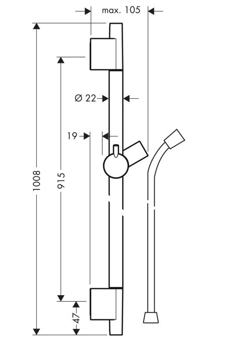 HansGrohe Unica'S Puro zuhanyrúd 0,90 m / polírozott nikkel / 28631820 / 28631 820