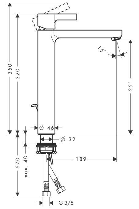 HansGrohe Metris S Egykaros, magasított mosdócsaptelep DN15 / pulton álló mosdótálakhoz / króm / 31022000 / 31022 000