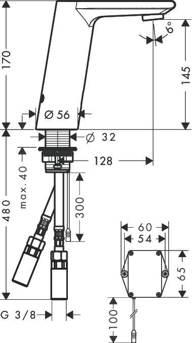 HansGrohe Metris S Elektomos mosdócsaptelep DN15 / hőmérséklet-szabályozóval / elemes működtetésű / króm / 31100000 / 31100 000