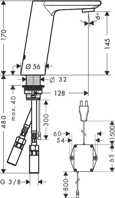 HansGrohe Metris S Elektromos mosdócsaptelep DN15 / hőmérséklet-szabályozóval / 230 V-os csatlakozással / króm / 31102000 / 31102 000