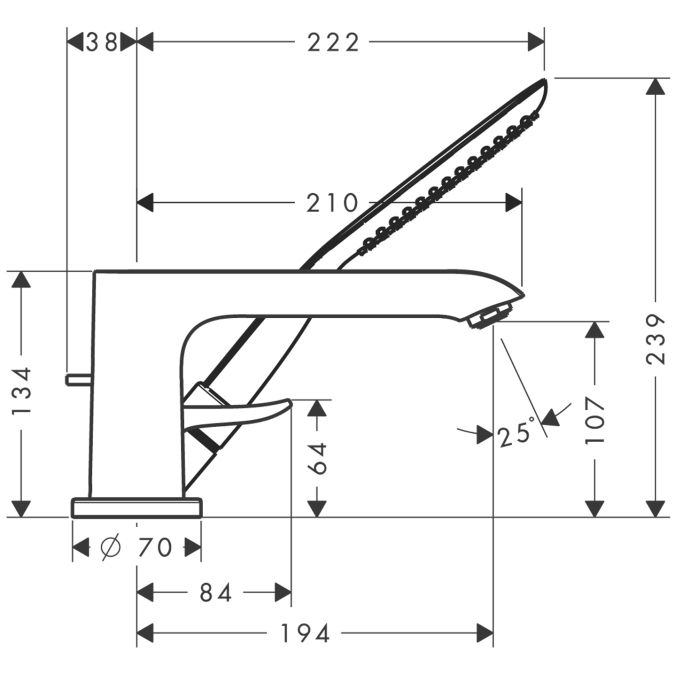 HansGrohe Metris 3-lyukú peremre szerelhető egykaros kádcsaptelep DN15 / 31190000 / 31190 000
