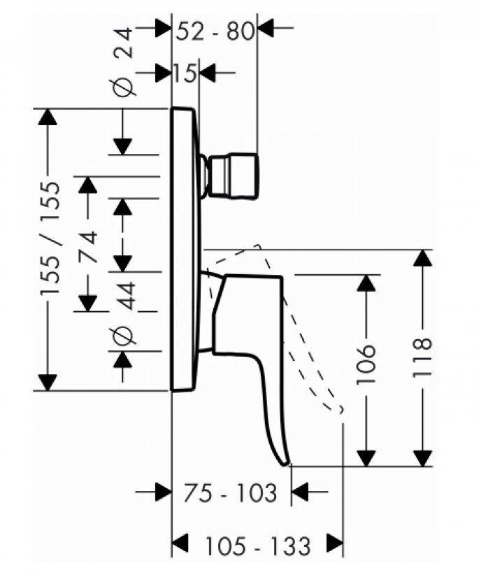 HansGrohe Metris egykaros, falsík alatti kádcsaptelep / beépített biztonsági kombinációval / króm / 31451000 / 31451 000