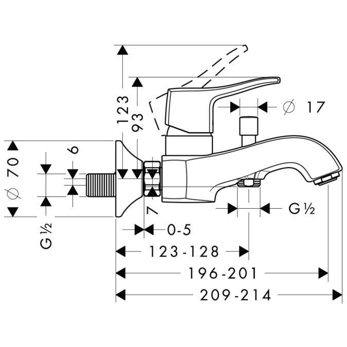 HansGrohe Metris Classic Egykaros kádcsaptelep DN15 / falsíkon kívüli szereléshez / króm / 31478000 / 31478 000