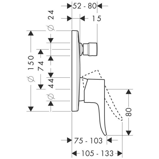 HansGrohe Metris Egykaros, falsík alatti kádcsaptelep / beépített biztonsági kombinációval / 31487000 / 31487 000