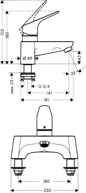 HansGrohe Focus 2-lyukú peremre szerelhető kádcsaptelep / 31523000 / 31523 000