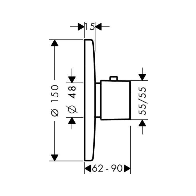 HansGrohe Ecostat E termosztátos csaptelep / falsík alatti szereléshez /króm / 31570000 / 31570 000