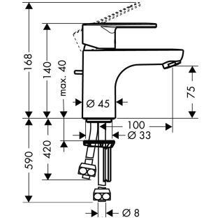 HansGrohe Talis E2 Egykaros mosdócsaptelep DN15 / elektromos / átfolyós vízmelegítőkhöz / króm / 31616000 / 31616 000