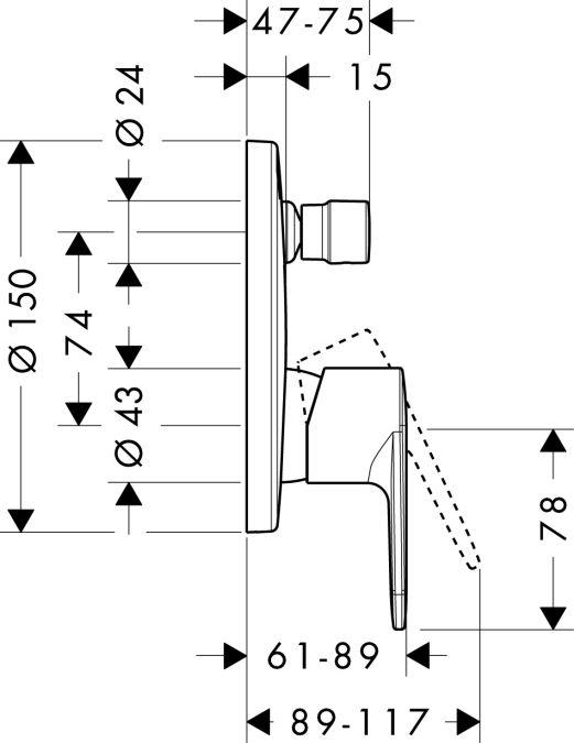 HansGrohe Talis E2 Egykaros, falsík alatti kádcsaptelep színkészlet / króm / 31645000 / 31645 000