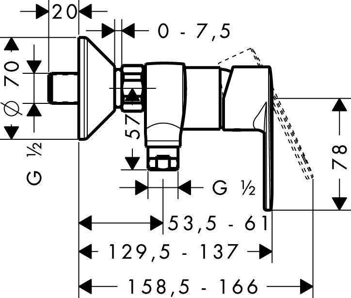 HansGrohe Talis E2 Egykaros zuhanycsaptelep DN15 / falsíkon kívüli szereléshez / króm / 31662000 / 31662 000