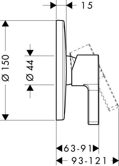 HansGrohe Metris S Egykaros, falsík alatti zuhanycsaptelep színkészlet / króm / 31665000 / 31665 000