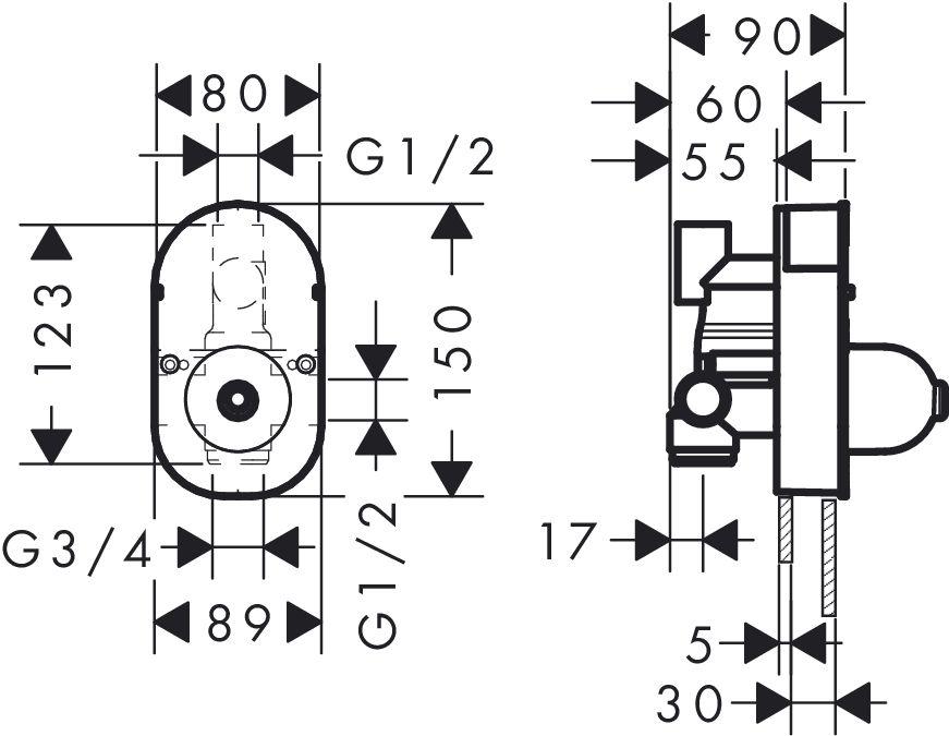 HansGrohe Alaptest egykaros kádcsaptelephez DN15 / falsík alatti szereléshez / 31741180 / 31741 180