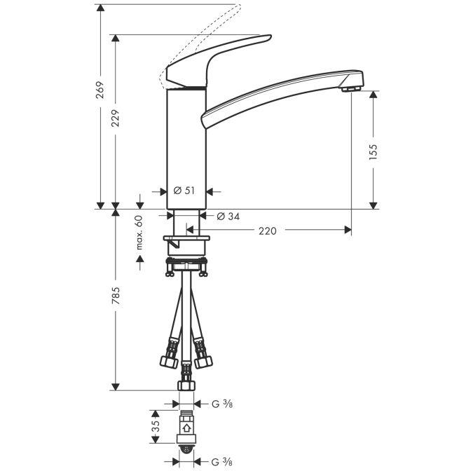 HansGrohe Focus E2 Egykaros konyhai csaptelep DN15 elektromos / átfolyós vízmelegítőkhöz / króm / 31804000 / 31804 000