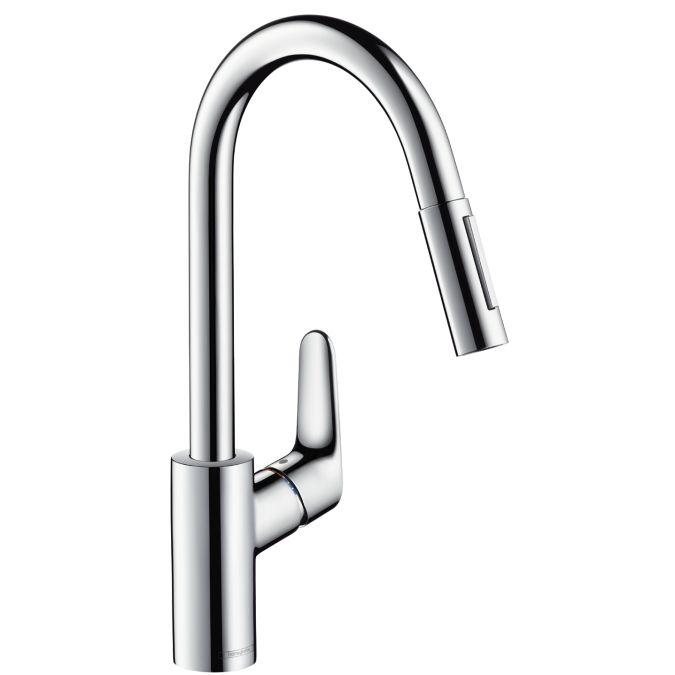 HansGrohe Focus egykaros konyhai csaptelep kihúzható zuhanyfejjel / króm / 31815000 / 31815 000