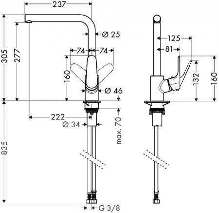 HansGrohe Focus konyhai csaptelep, termosztátos elforgatható kifolyóval / króm / 31817000 / 31817 000
