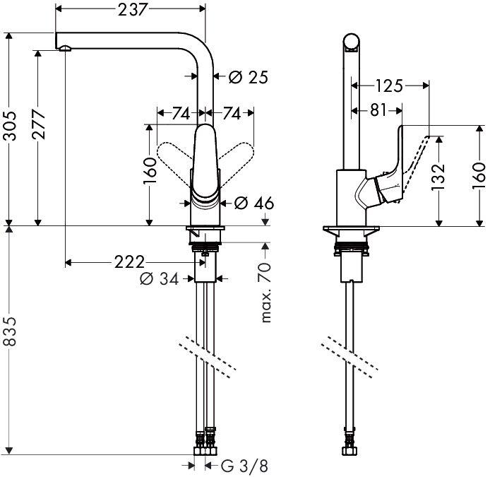 HansGrohe Focus Egykaros konyhai csaptelep / elfordítható kifolyóval / rozsdamentes acél hatású-optic / 31817800 / 31817 800
