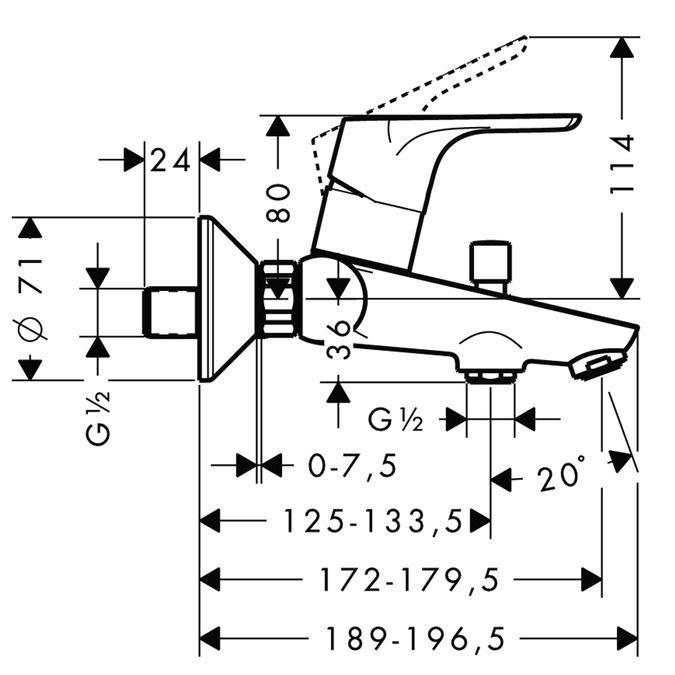 HansGrohe Focus E2 Egykaros kádcsaptelep DN15 falsíkon kívüli szereléshez / króm / 31940000 / 31940 000