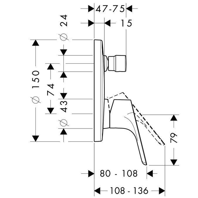HansGrohe Focus E2 Egykaros, falsík alatti kádcsaptelep színkészlet / króm / 31945000 / 31945000