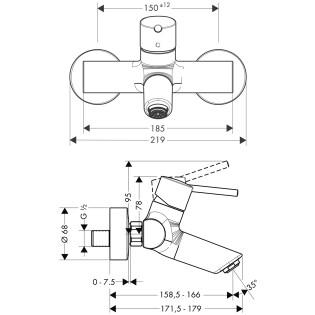 HansGrohe Talis S2 Egykaros mosdócsaptelep DN15 / falsíkon kívüli szereléshez extra hosszú fogantyúval / króm / 32047000 / 32047 000
