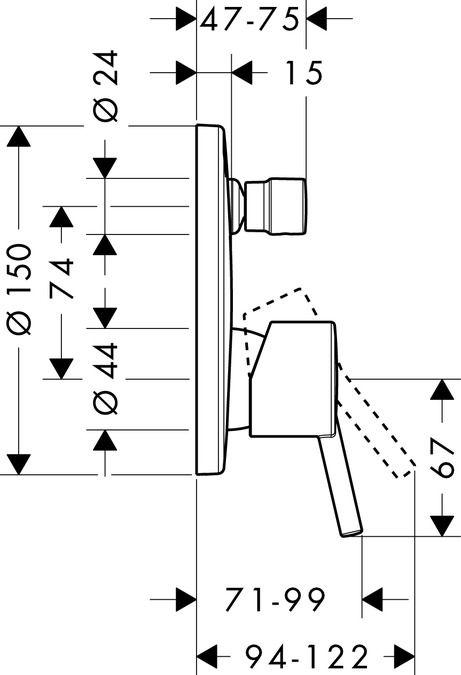 HansGrohe Talis S Egykaros, falsík alatti kádcsaptelep színkészlet beépített biztonsági kombinációval az EN 1717 szabvány szerint, króm  / 32477000 / 32477 000
