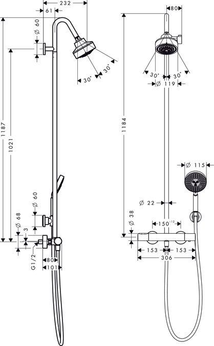 HansGrohe Axor Citterio M Showerpipe 3jet termosztáttal DN15, króm / 34640000 / 34640 000