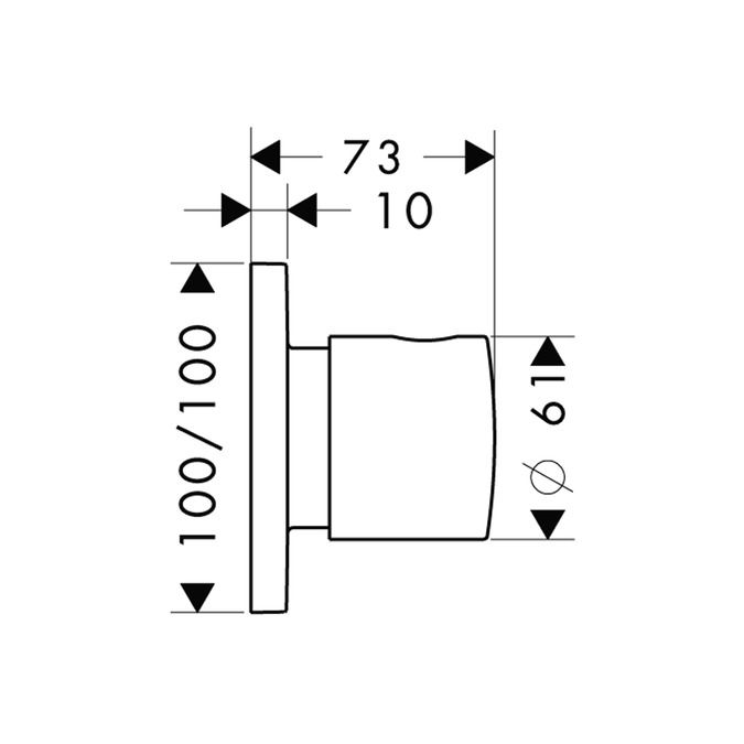 HansGrohe Citterio M Trio/ Quattro elzáró- és váltószelep falsík alatti szereléshez DN20, króm / 34920000 / 34920 000