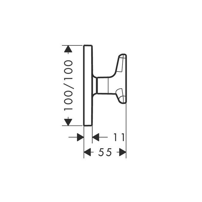HansGrohe AX Citterio M falsík alatti-elzárószelep FS króm, csillag alakú fogantyúval / 34980000 / 34980 000
