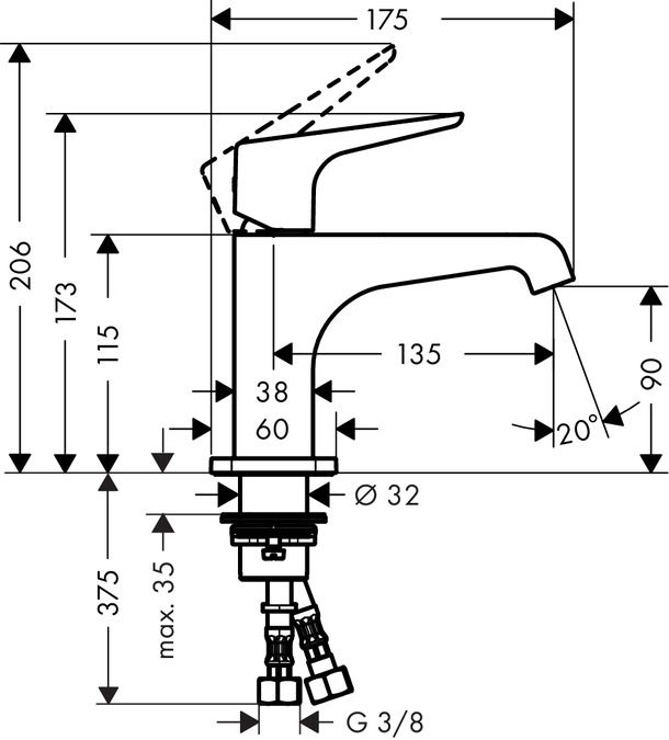 HansGrohe Egykaros mosdócsaptelep 115 lefolyógarnitúra nélküli kézmosókhoz  / 36112000 / 36112 000