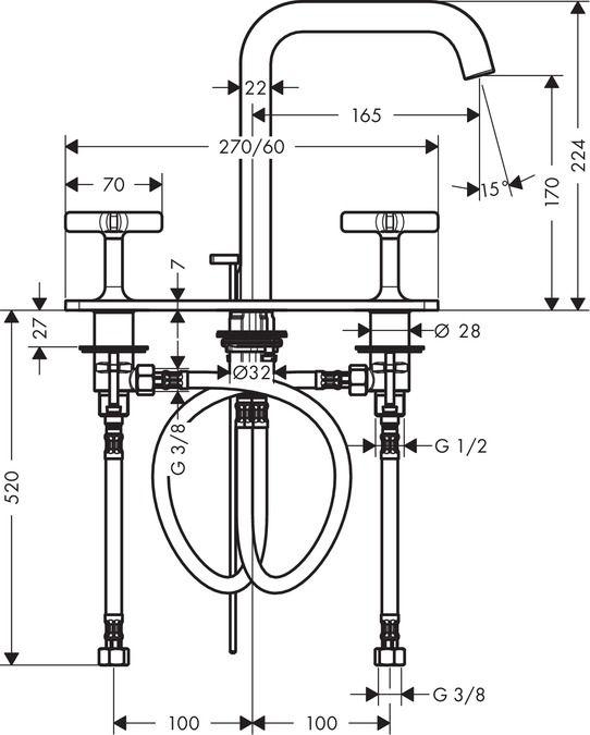 HansGrohe 3-lyukú mosdócsaptelepautomata lefolyó-garnitúrával  / 36116000 / 36116 000