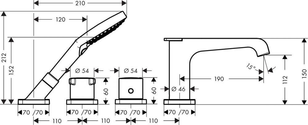 HansGrohe 4-lyukú burkolatra szerelhető termosztátos kádcsaptelep / 36410000 / 36410 000