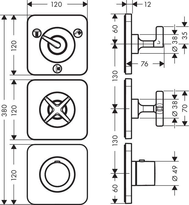 HansGrohe Falsík alatti termosztátos modul 38 x 12, 3 fogyasztóhoz, rozettával / 36704000 / 36704 000