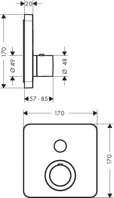 HansGrohe Axor ShowerSelect Soft Cube falsík alatti termosztátos csaptelep 2 fogyasztóhoz / 36707000 / 36707 000