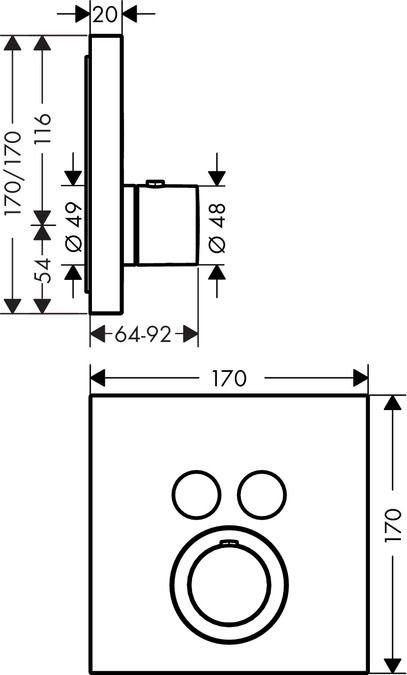 HansGrohe Axor ShowerSelect Square falsík alatti termosztátos csaptelep 2 fogyasztóhoz / 36715000 / 36715 000