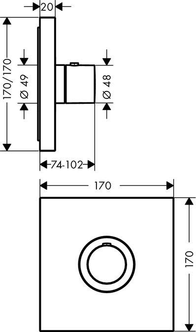 HansGrohe Axor ShowerSelect Square falsík alatti highflow termosztátos csaptelep / 36718000 / 36718 000
