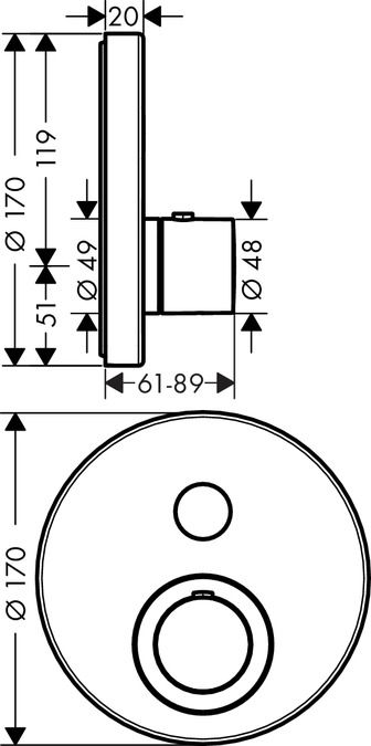 HansGrohe Axor ShowerSelect Roundfalsík alatti termosztátos csaptelep 1 fogyasztóhoz / 36722000 / 36722 000